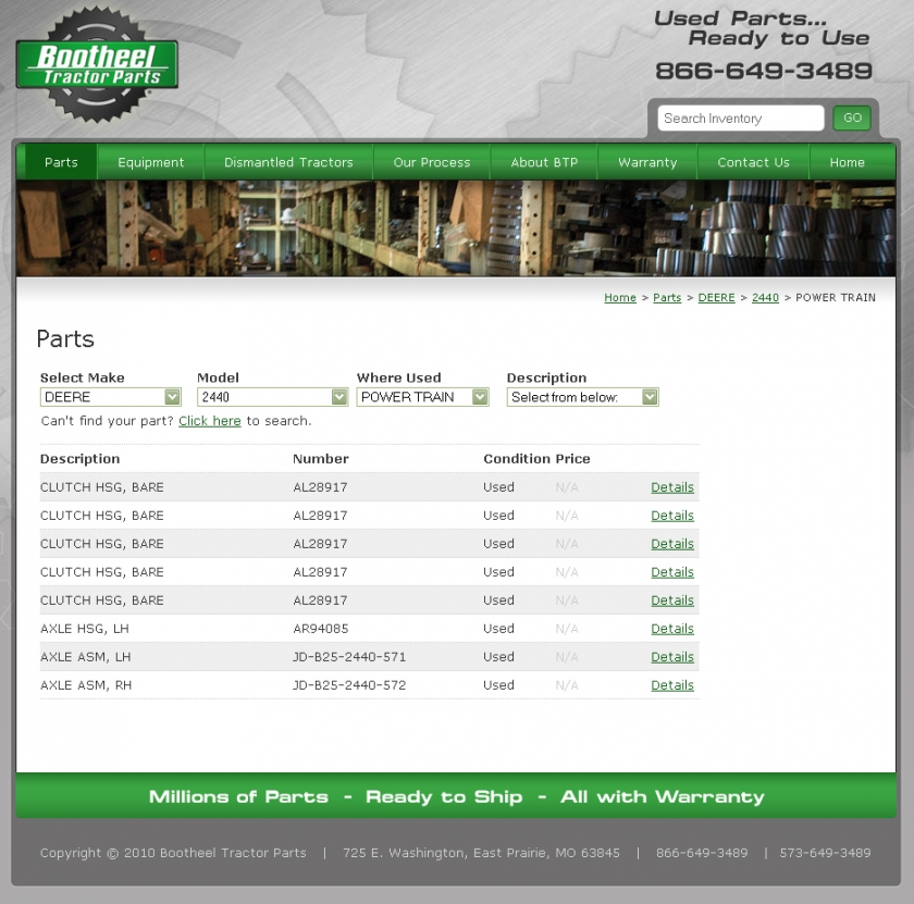 Used Tractor Parts Inventory Management